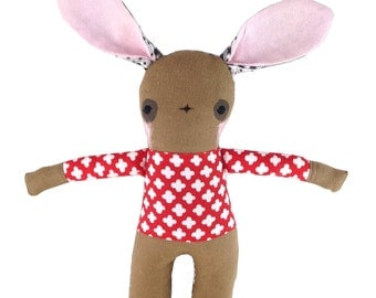 Brown Linen Bunny Rabbit Soft Toy  - New Baby Gift - Red