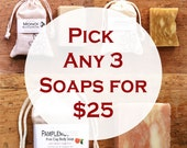 SOAP Value Set (Pick Any 3) Gentle Body Soap - 100% Natural, Organic Ingredients, Gluten Free, Vegan