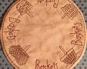 Primitive Stitchery Candle Mat Pattern Baskets