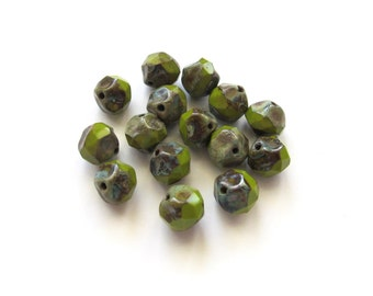 Baroque Chartreuse Green Czech Glass Nugget Beads with Rustic Picasso Finish, 9mm - 15 pieces
