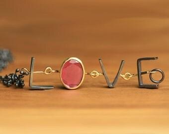 Valentine Bracelet. Pink Tourmaline LOVE Bracelet. Wife Gift.