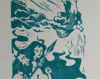 Tempest Approaches  - Hand pulled block print, Mermaid