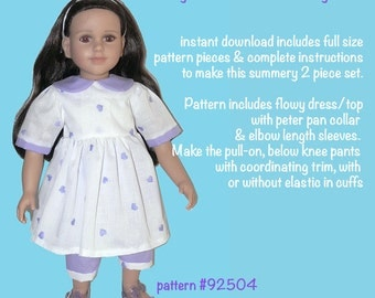 My Twinn doll clothes sewing pattern, pretty outfit PDF 92504