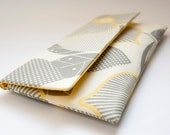 Gray leaves yellow Envelope Clutch Purse Foldover clutch Personalized Wedding Bridal Clutch, optic blossom