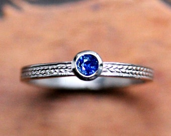 White gold sapphire ring, blue sapphire promise ring, sapphire stack ring, September birthstone, recycled gold, wheat ring, braid ring, sz 7