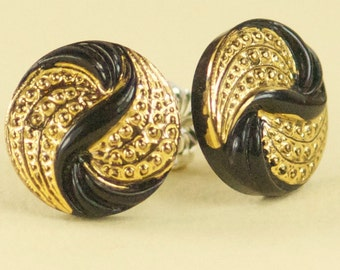 Vintage Black and Gold Flower Czech Glass Post Earrings - Limited