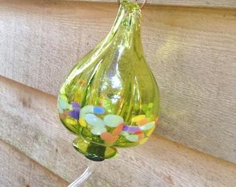SPARKLING ! Hummingbird Feeder - Lime Green Blown Glass