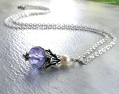 Alexandrite Crystal & Pearl Necklace Silver Morning Glory Floral Pendant Handmade Jewelry - June Birthday Mother's Day Gift for Her