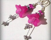 Hot Pink Lucite Flower Earrings, Fuchsia Glass, Sterling Silver and Tibetan Accents, Delicate Floral Jewelry
