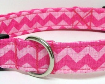 Classic Chevron Print in Pinks Handmade Dog Collar