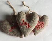 Christmas scented heart decoration JOY rustic