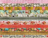 ART TEA LIFE Romantic Shabby Borders digital file Collage Sheet trim cuffs label bands scrapbook decoration journal page card