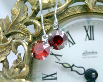 Shimmer Crystal Red Magma Dangle Sterling Silver Earrings Swarovski Elements 39ss 8mm Enchanting