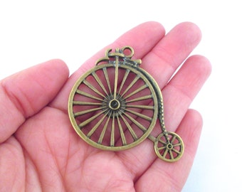 Brass plated bicycle charms, pick your amount, D79