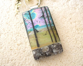Bird in Forest,  Tree Scene - Fused Dichroic Glass Pendant - Forest Necklace - Dichroic Jewelry - Fused Glass Jewelry - 042915p118