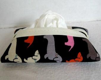 Dachshund Tissue Holder - Dog Pocket Tissue Case - Wiener Dog Fabric Tissue Cozy - Doxie Purse Tissue Cover