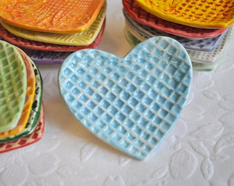 Heart Trinket Dish/ Ring Dish in Light Blue and White in Grid Pattern