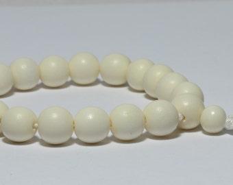 White Bone Wrist Mala, 10mm, 18-Bead Mala, Adjustable, Pure White, Natural Bone, Short Prayer Beads, Silk Cord, Tibetan Buddhist, Juzu