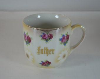 vintage floral FATHER gold leaf gilded coffee cup porcelain