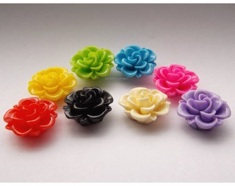 18 Cabs 19mm Resin Roses, Spring Flowers Cabochon, 19 mm Classic Rose Cab, Red Pink Green Yellow Blue Purple Black Offwhite Cream