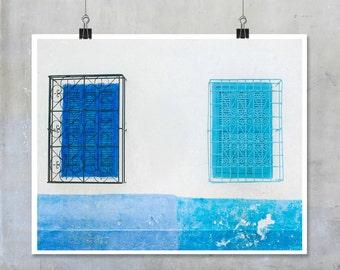 Moroccan home decor blue shuttered windows white blue wall big print poster fine art photography shabby chic travel wall art blue print