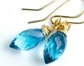 London Blue Quartz Faceted Marquis or Rice Briolette14 Karat Gold Fill Earrings