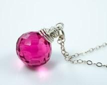 Hot Pink Quartz Briolette Sterling Silver Gemstone Necklace