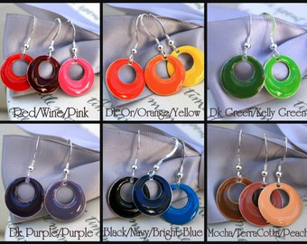 Go-Go 60s Enamel earrings - One pair - Your choice of color