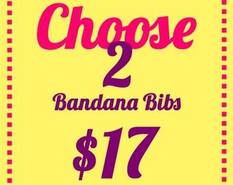 Choose Any 2 Bandana Bibs, Drool Bib, Baby Bandana, Dribble Bibs, Gender Neutral Baby Gift, Custom Baby Gift Set, Organic Cotton