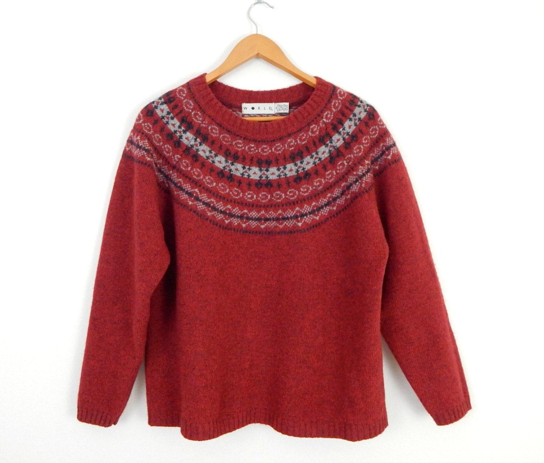 Jahrgang bergr e fair isle shetland wolle damen pullover - Fair isle pullover damen ...