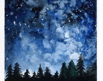 Forest Night watercolor painting PRINT 5x7, 8x10, 11x14