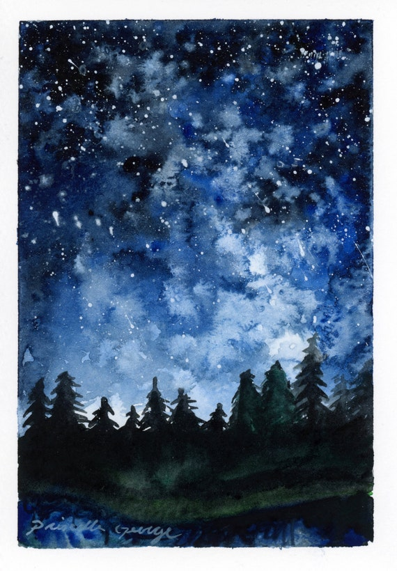 Forest Night Watercolor Painting Print 5x7 8x10 11x14