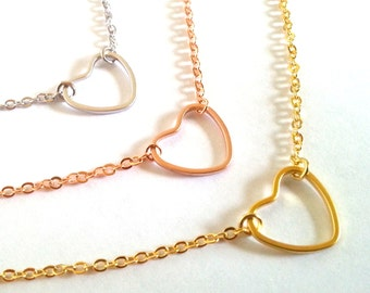 Open Heart Necklace, Silver, Gold, Rose Gold necklace, Valentine's Day Gift, Wedding Jewelry, Love, Bridesmaid gift idea, Maid of honor