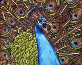 Peacock #1 6x6 inch print on wood