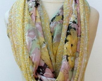 Pastel Infinity scarf Loop scarf circle scarf handmade from Indian floral Eternity hippie Boho yellow