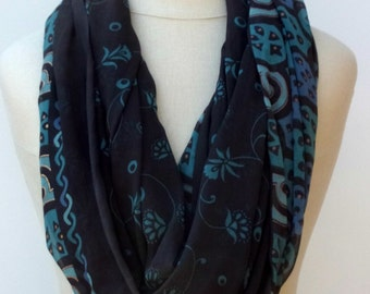 Infinity Loop scarf Eternity scarf circle scarf handmade from Indian dupatta charcoal teal Ethnic hippie Boho