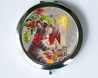 Cat Christmas Compact Mirror Pocket Mirror Christmas Holiday