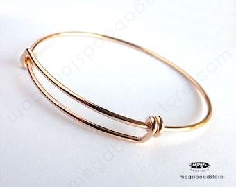 14 Gauge Thick Adjustable Bangle Bracelet 14K Gold Filled F445GF
