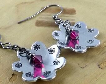 Ruby hot pink Swarovski crystal hand stamped aluminum flower gunmetal french hook earrings