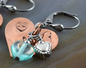Copper Kettle Candy Hearts lemonberry aqua hand stamped gunmetal leverback charm earrings