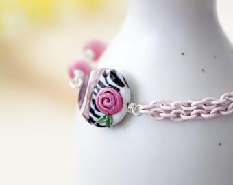 Pink White and Black OOAK Lampwork Bracelet, Pink Rose Enameled Chain Bracelet, Mother's Day Gift BFF Birthday Gift for Her Mom Sister Aunt