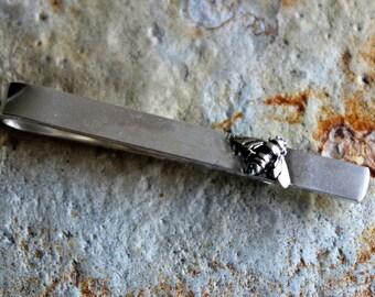 Sterling Silver Bee Tie Clip, Bee Tie Bar, Groom's Gift Men's Gift