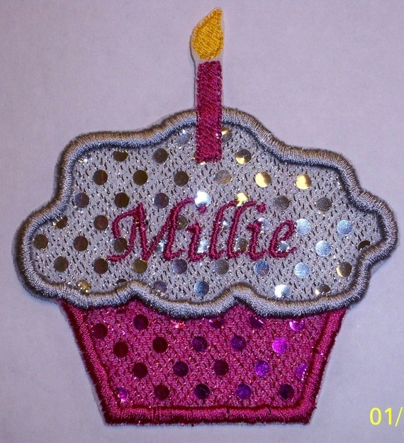 1st Or 2nd Birthday Cupcake Applique Iron On Or Sew On
