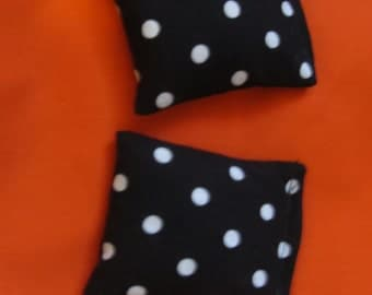 2  Black White Polka Dot Rice Bags - Nail Application - Hot or Cold Compress - Pick Your Size - Reusable Rice Bags