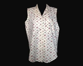Vintage Blouse, 1960s, Sleeveless, Cotton, Summer, Floral Print, Medium, Large