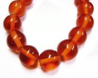 20pc 14mm orange red round glass bead-1491Bx2