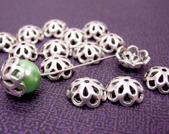 12pcs 12mm antique silver plated flower bead caps-1660