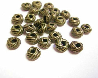 25pc 6.5mm antique bronze metal net shape beads-2036