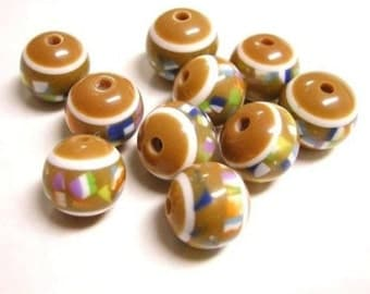 12pc 12mm round resin fancy beads-2377