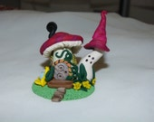 mushroom house Whimsical Miniature Hand sculpted terrarium miniature garden Lovely Miniature